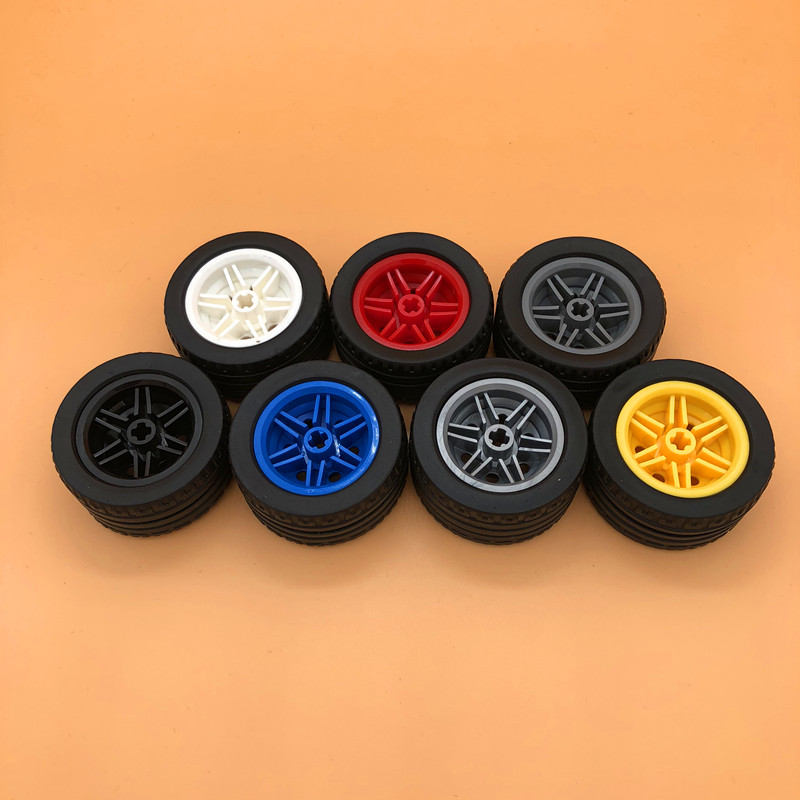 Model Building Toys & Hobbies Moc Bricks Technic Tire Wheel Hub 43.2x22mm 44309+56145 Building Blocks Car Truck Element Compatible With Legoing Technic 44309 Suitable For Men And Women Of All Ages In All Seasons