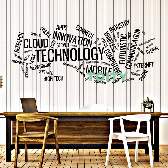 vinyl decal wall sticker technology word cloud innovation connect