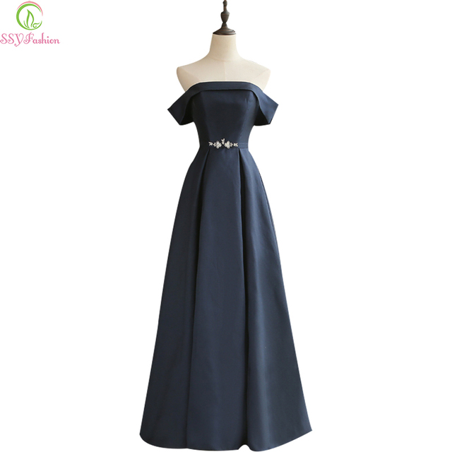 21ee890f3 Ssyfashion بسيطة أنيقة كحلي سميكة الحرير الطابق طول طويل مساء ثوب العروس  مأدبة حزب رسمي ثوب