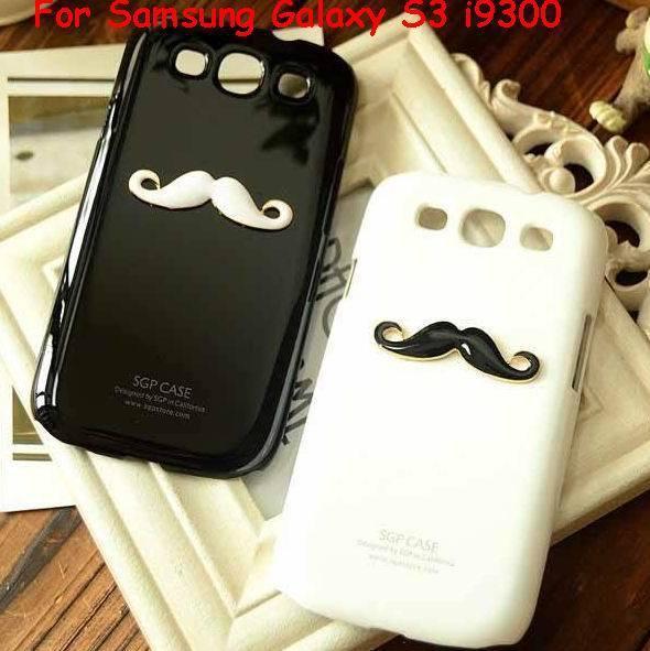 2pcs Free shipping Lover&couple New Hot LEON Chaplin Sexy 3D Beard Mustache Hard Back Case Cover For Samsung Galaxy S3 i9300