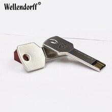 Key Style Design Metal USB Flash Drive Pen Drive 4GB 8GB 16GB 32GB 64GB Memory Stick