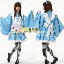 Venta caliente Japonés Kimono Furisode Cosplay Alta Calidad Alice Disfraces para Mujeres Lindo Lolita Viste El Envío Libre
