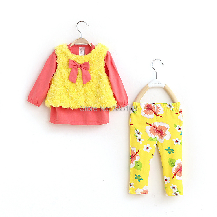 Baby Girl Clothes Autumn Fashion Yellow Girls 3 Piece Sets velvet waistcoat/ t-shirt/Flowers Pants Warm Infant clothing sets