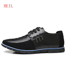37-48 Winter Top Quality Genuine Leather Shoes Men Short plush Flats Casual Super Warm Comfortable Snow