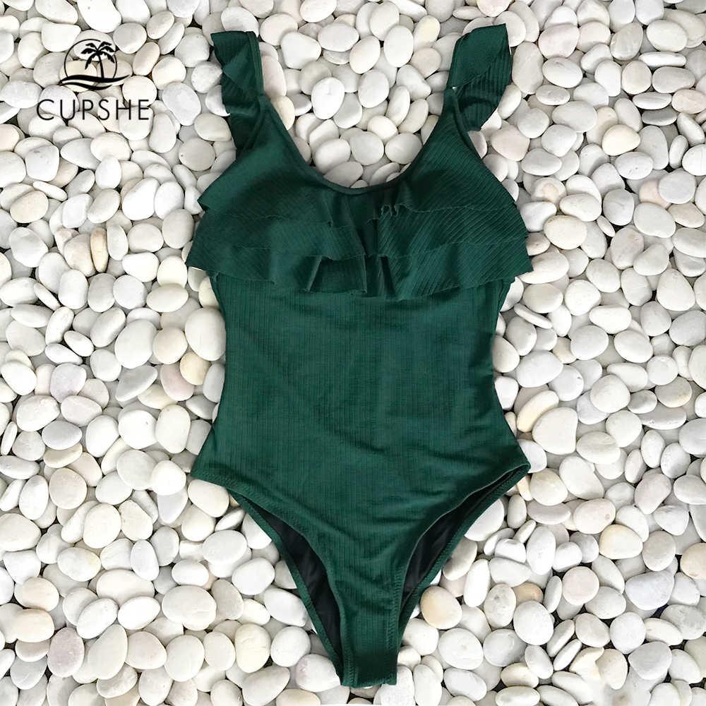 CUPSHE vert foncé à volants une pièce maillot de bain femmes solide plage maillot de bain Monokini 2020 fille Sexy maillots de bain