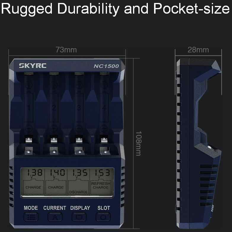 الأصلي SKYRC NC1500 AA/AAA البطارية الذكية ذكي 4 فتحات شاشة الكريستال السائل شحن سريع شاحن نيمه بطاريات التفريغ