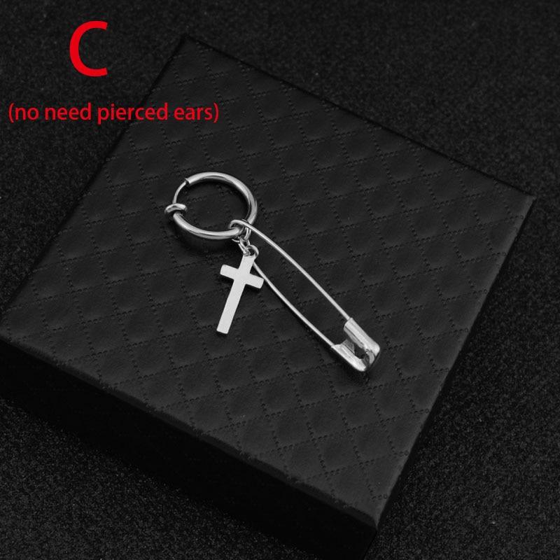 kang daniel Stainless Steel Cross Pin Pendant Stud Earring 7