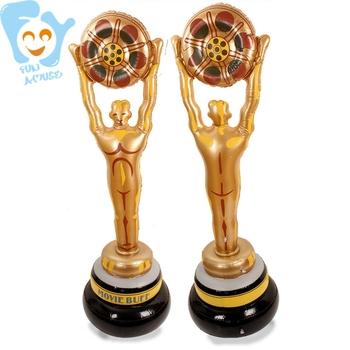 Inflatable OSCAR Trophy Cup Stage Prop Children Fun Toy Game Prize Awards fantasy football championship belt trophy prize white