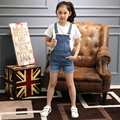 2016 New Girls Jeans Overalls Summer Children's Cowboy Strap Shorts Korean Denim Jumpsuit Kids Solid Overall