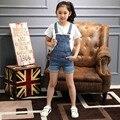 2016 calças de Brim Novas Meninas Macacão de Verão para Crianças Calções Cinta Cowboy Coreano Denim Macacão Crianças Geral Sólida