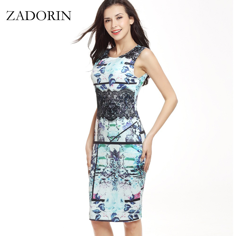 New Fashion Printing Sleeveless Bodycon Office Lady Pencil Dress Women Plus Size Casual Summer Lace Dress womens clothing