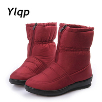 Ylqp Snow Boots Plush Fur 2017 Women Winter Boots Mother Flat Shoes Antiskid Waterproof Flexible Women