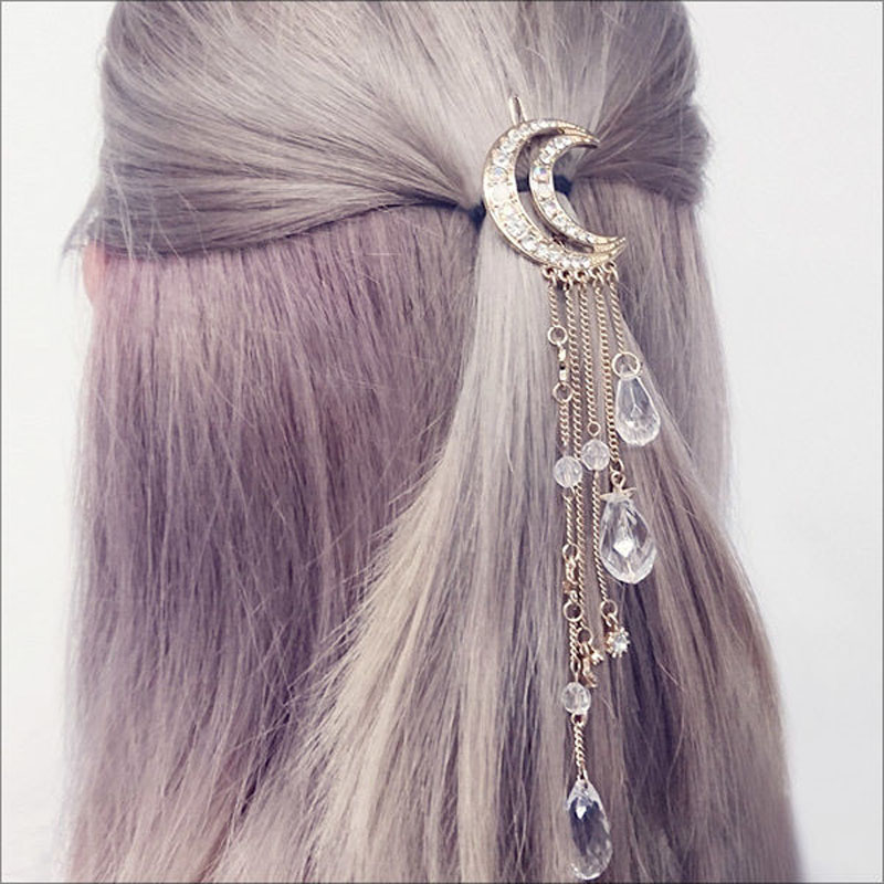 2017 New Charming Gold/Silver/Black/Rose Gold Color Crystal Moon Hair Clip Tassels Long Hair ...