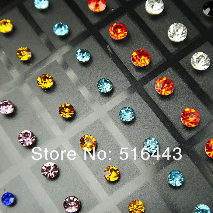 A-268 72pcs Mix Colr Czech Rhinestones Stainless steel Women Mens Stud Earrings Wholesale Fashion Jewelry Lots
