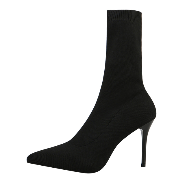 Boussac Pointed Toe Stretch Fabric Sock Boots Solid High