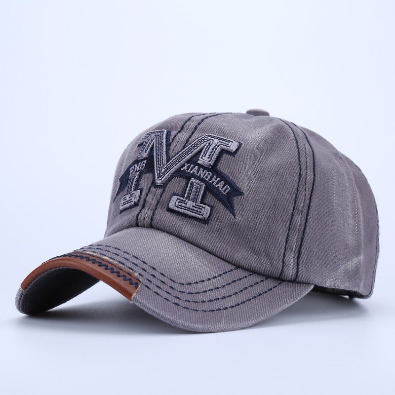 """Embroidered Letter """"M"""" Dad Hat - Gray Cap Front Angle View"""