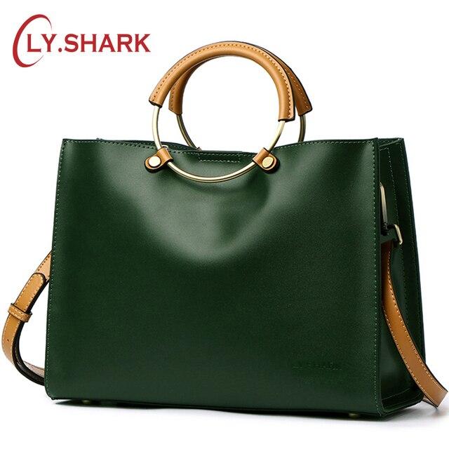 7ff762b129 SHARK Ladies Genuine Letaher handbags Women Messenger Bags Famous Brand  Shoulder Bag Female Crossbody Bags Ladies Tote Bag