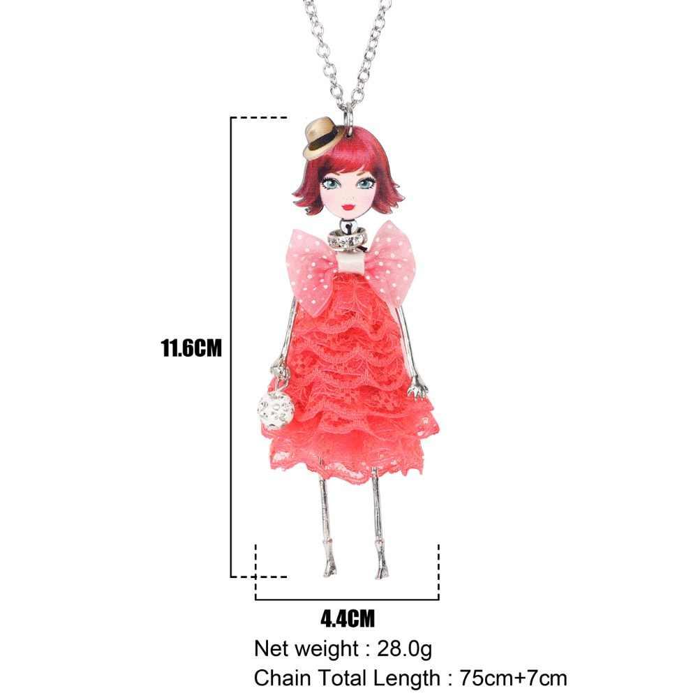 WEVENI Vải Ban Đầu Ăn Mặc Đáng Yêu Búp Bê Mặt Dây Chuyền Vòng Cổ Dài Hợp Kim Chuỗi Cổ Áo Hot Hợp Thời Trang Đồ Trang Sức Bán Buôn Cho Phụ Nữ