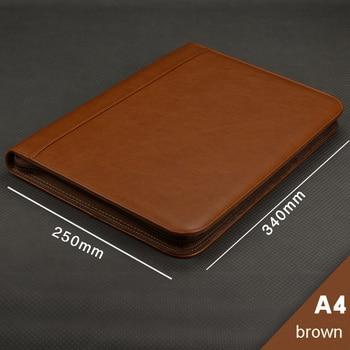 PU leather buiness manager bag portfolio zipper folder for a4 documents hotel restaurant menu folder cover with ring binder