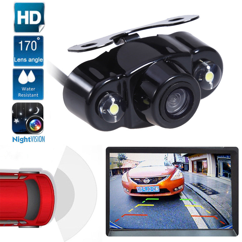 LESHP Car Parking Assistance IR Infrared Camera Waterproof IP67 Mini 170 Degree Angle Night Vision Rear View Camera for Car