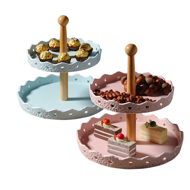 Ceramics Double-deck On Disk Originality Round Heart-shaped Cake Frame A Snack Do Compote Afternoon Tea Fruit Drop Compote