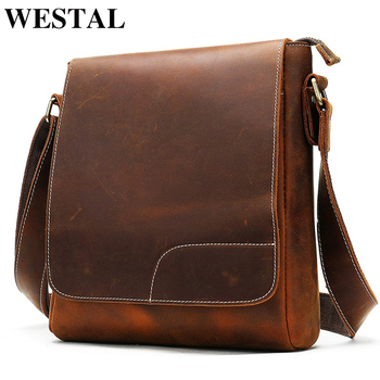 WESTAL men's bags leather men's shoulder bags sets for men leather vintage male messenger crossbody bag business handbag 8635