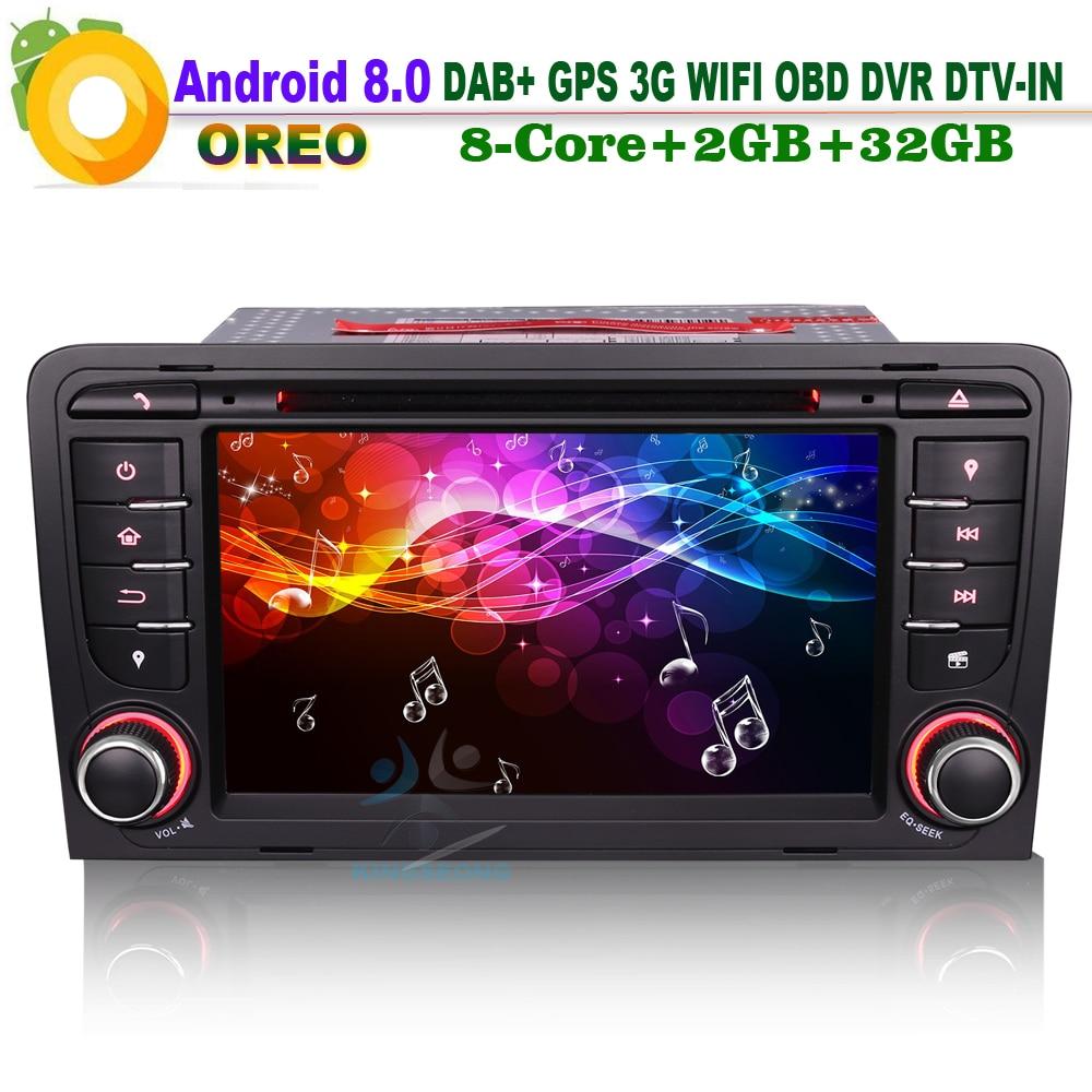 7 Android 8.0 DAB+ 3G OBD DTV Autoradio WiFi GPS Radio Bluetooth RDS BT DVD Sat Navi Car CD player for AUDI A3 S3 RS3 RNSE-PU