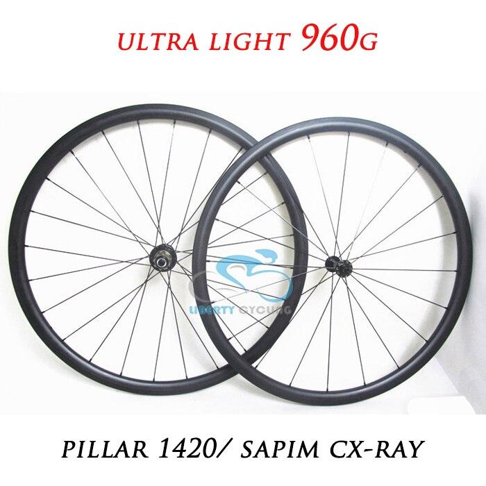 DEERACE 960G 20mm Tubulaire de Carbone Route Roues 23mm Large Vélo Roues avec Bitex SL Hubs et Sapim CX-RAY Aero Rayons