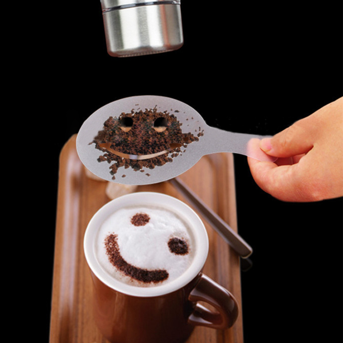16 Pcs Cappuccino Coffee  Stencils Mike Tea  Art Drawing Foam Spray Stencils Cake Duster Templates Coffee Printing Mold