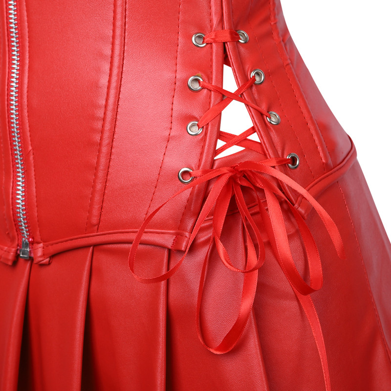 43f3f04aa5 2019 Women Lace Up Back Red Corset Dress Steampunk Faux Leather ...