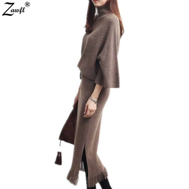 Winter 2 Two Piece Set Knitted Sweater Tassel Skirt Suits Elastic Waist Skirts Fashionsuit Warm Pullovers Femme Outfits Mujer