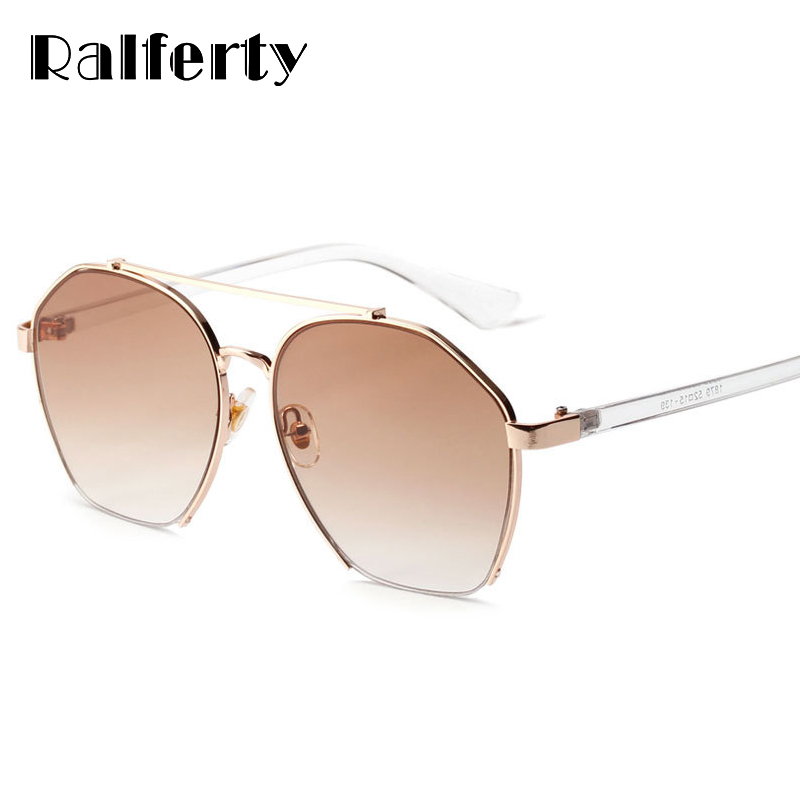 Ralferty Oversized Sunglasses Women Design High Street Women Sunglass Gradient Lens UV400 Sun Glasses Female Hexagon Oculos 1879
