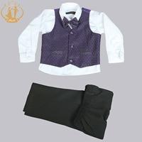 Nimble Baby Boys Cloth Children Purple Leisure Wear Gentleman Set For School Show Birthday Party Four Pieces Vest+Pant+Shirt+Bow