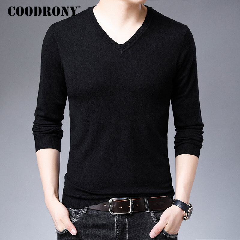 COODRONY Brand Sweater Men Casual V-Neck Knitwear Pull Homme Warm Cotton Wool Pullover Men Autumn Winter New Mens Sweaters 91037