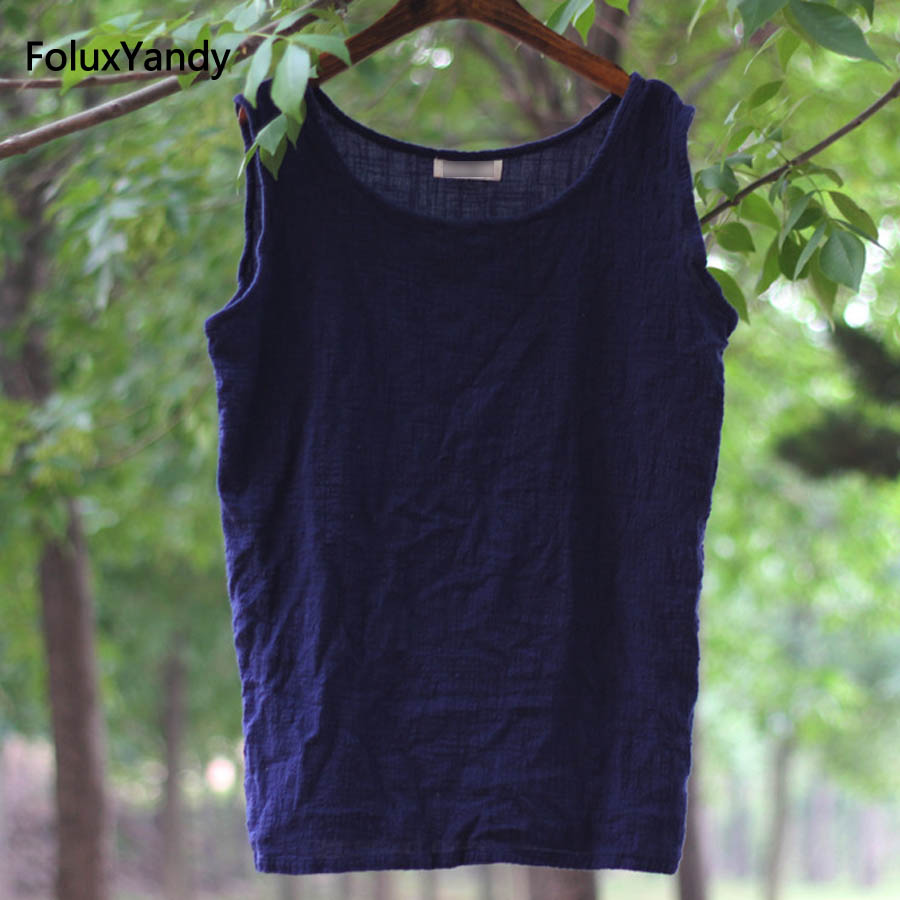 5 Colors Casual Linen Tank Tops Women Loose Summer Tops Solid Sleeveless Tanks RUJYMM02