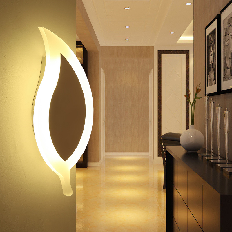 Simple Bedroom Bedside LED Wall Lamp Creative Aisle Lamp Living Room Leaf Acrylic Lamp Children Room Light Free Shipping bedroom bedside wood led aisle corridor light northern europe simple living room wooden acrylic round wall lamp free shipping
