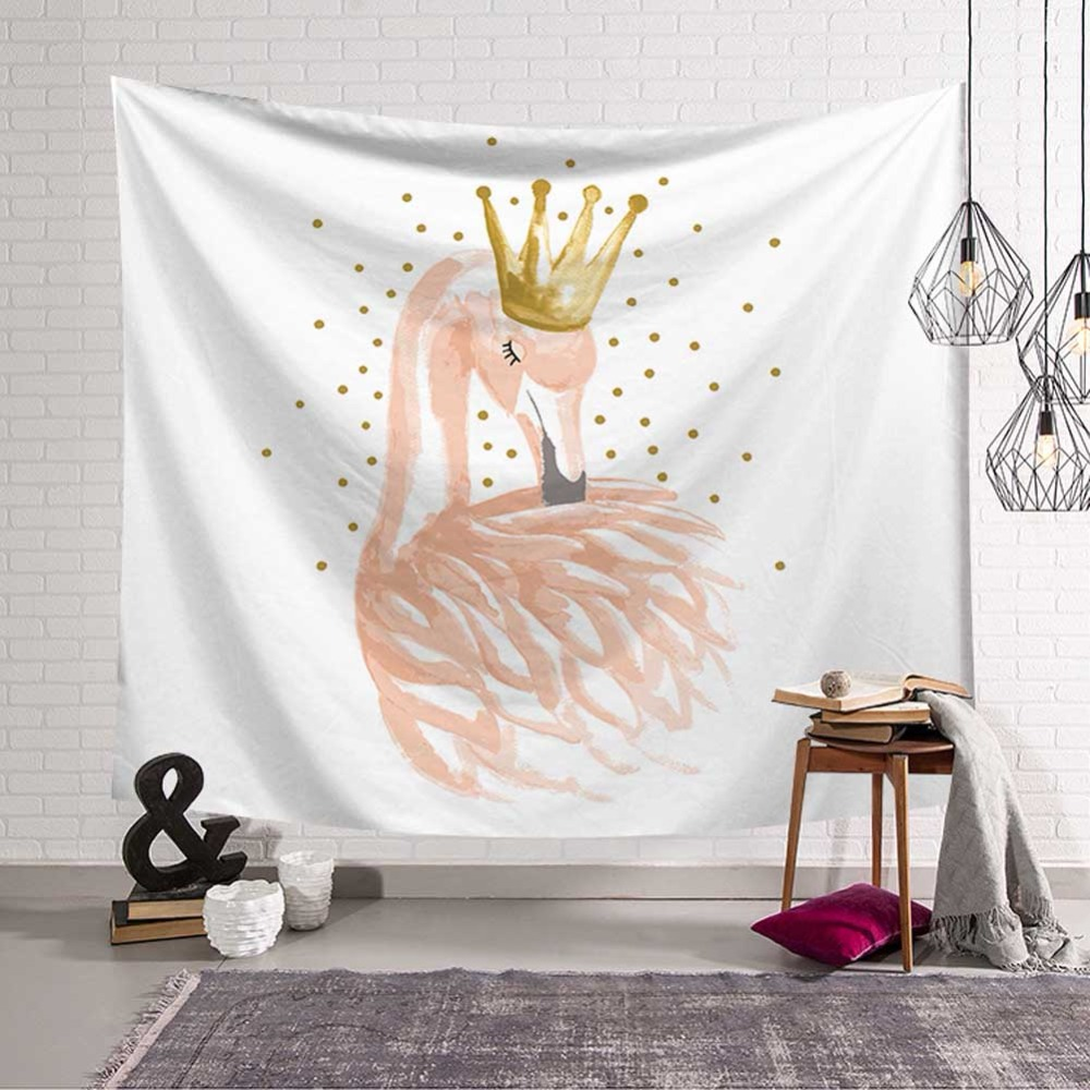 Tropical Paradise Flamingo Tapestry Wall Hanging Blanket Pink Bohemian Beach Towel Polyester Yoga Sunbathing Cover Wall Decor