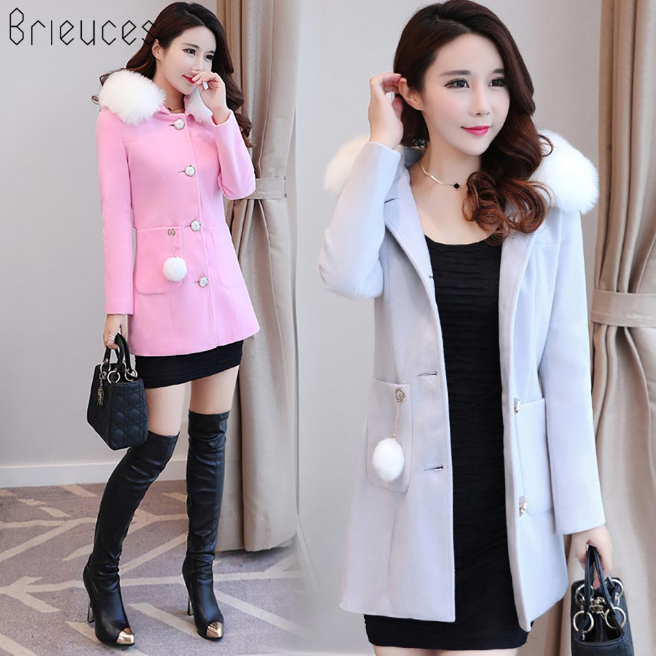 Brieuces 2017 Winter Woolen Coats For Women Fashion Solid Single Breasted Jacket White Fur Collar Wool Blend Coat Female Trench