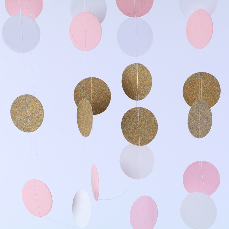 Kids DIY Toys 24 Pieces 2M Pink White Gold Glitter Circle Polka Dots Paper Birthday Gift Baby Toys 0-12 Months