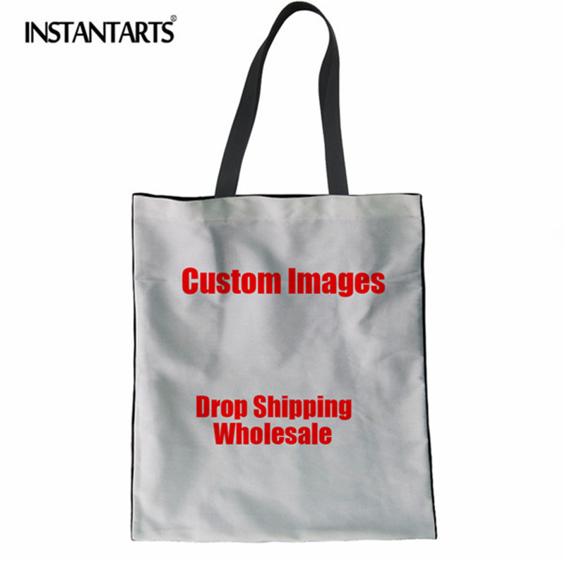 INSTANTARTS Reusable Shopping Bag Casual Linen Tote Bags Girls Canvas Bags Custom Images or Logos Drop Shipping and Wholesale dos logos