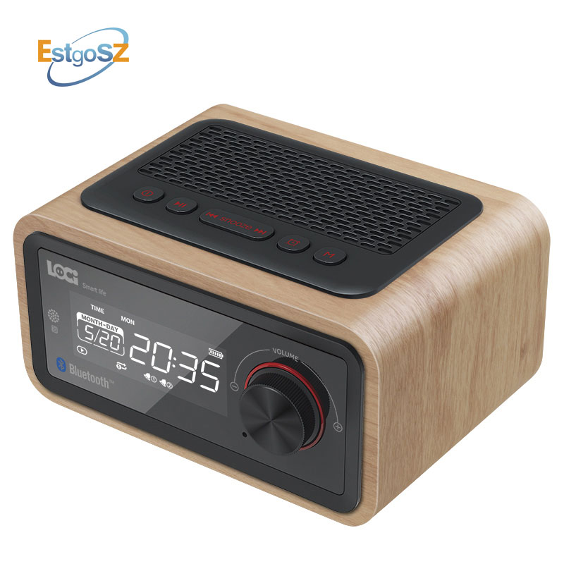 EStgoSZ Retro Wooden <font><b>Radio</b></font> Bluetooth Speaker Subwoofer FM Support Alarm Clock AUX TF Card USB Disk With Remote Control image