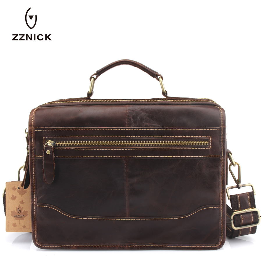 ZZNICK 2018Genuine Leather Men Shoulder Bag Handbag Vintage Cowhide Crossbody Bag Tote Business Casual Men Messenger Bag8826* super hot 100% total cowhide men real leather business tote handbag messenger bag fashion casual men bag of whole cow leather