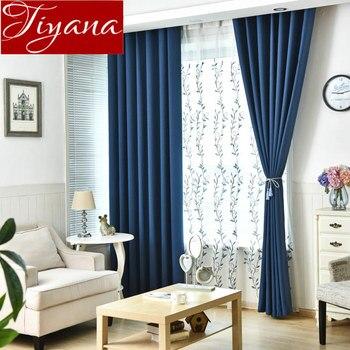 Rideaux bleus feuilles brodé Voile rideau pour salon rideaux cuisine ...