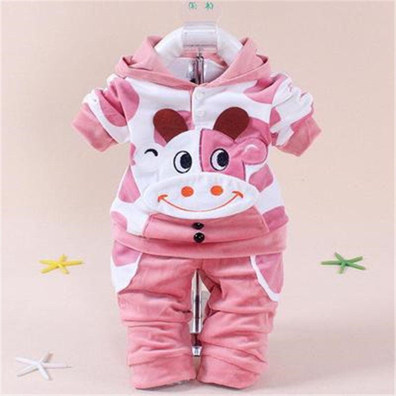 New Boys baby Girls Clothing Set Fleece Sport newborn Clothes Suit Cow Long Sleeve toddler tracksuit Cotton children boy Y47