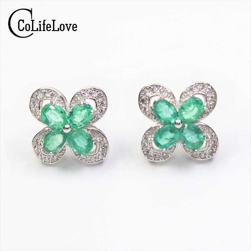 Elegant emerald stud earrings 8pcs 3*4mm SI grade natural emerald silver earrings solid 925 silver emerald earrings for wedding