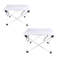 Portable Camping Table Outdoor Sliver Aluminium Alloy Foldable Folding Picnic Table Ultralight Plegable For Hiking Picnic