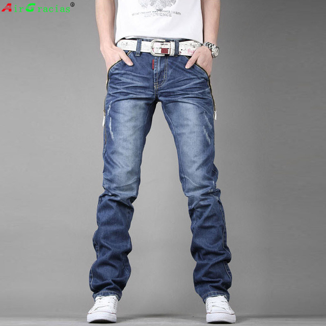 AirGracias High Quality Jeans Men	 Straight Denim Casual Men Long Pants Trousers Brand Top Zipper Fly Jean Plus Size 28-38