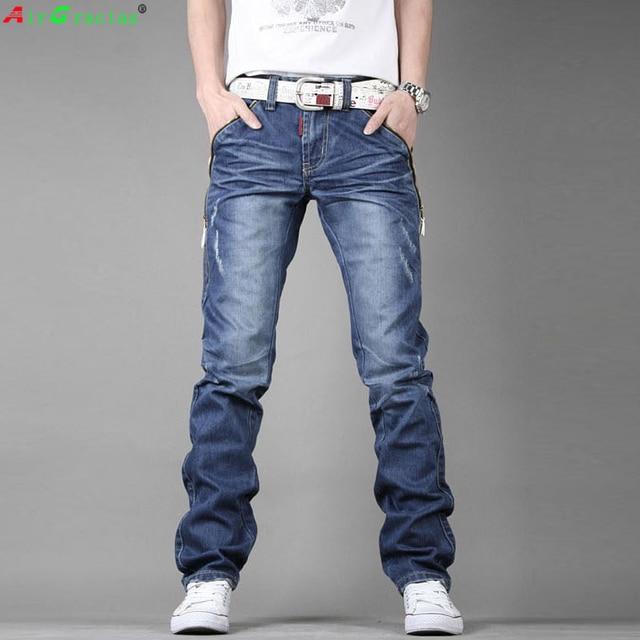 AirGracias High Quality Jeans Men Straight Denim Casual Men Long Pants Trousers Brand Top Zipper Fly Jean Plus Size 28-38