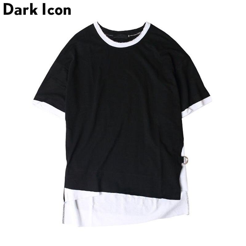Side Ribbon Irregular Hi-end Fashion Mens T-shirt Short Sleeve 2017 Summer Color Block Hip Hop T Shirt Men Tee Shirts 2 Colors
