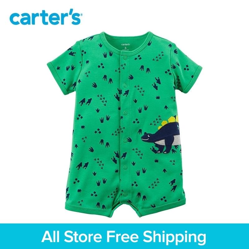 1pcs sweet dinosaur footprints Snap-up Cotton Romper Carter's baby boy Summer bodysuits clothing 118H888 baby dinosaur romper